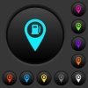 Gas station GPS map location dark push buttons with color icons - Gas station GPS map location dark push buttons with vivid color icons on dark grey background