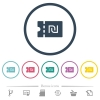 New Shekel discount coupon flat color icons in round outlines - New Shekel discount coupon flat color icons in round outlines. 6 bonus icons included.