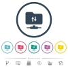 FTP data traffic flat color icons in round outlines - FTP data traffic flat color icons in round outlines. 6 bonus icons included.