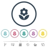 Flower flat color icons in round outlines. 6 bonus icons included. - Flower flat color icons in round outlines