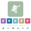 Hand truck with boxes flat icons on color rounded square backgrounds - Hand truck with boxes white flat icons on color rounded square backgrounds. 6 bonus icons included