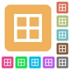 All borders rounded square flat icons - All borders flat icons on rounded square vivid color backgrounds.