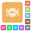 Steak for lunch flat icons on rounded square vivid color backgrounds.