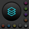 Layers dark push buttons with vivid color icons on dark grey background - Layers dark push buttons with color icons