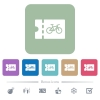 Bicycle shop discount coupon flat icons on color rounded square backgrounds - Bicycle shop discount coupon white flat icons on color rounded square backgrounds. 6 bonus icons included