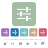 Adjustment white flat icons on color rounded square backgrounds. 6 bonus icons included