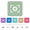 Camera aperture setting white flat icons on color rounded square backgrounds. 6 bonus icons included - Camera aperture setting flat icons on color rounded square backgrounds