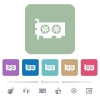 Computer video card flat icons on color rounded square backgrounds - Computer video card white flat icons on color rounded square backgrounds. 6 bonus icons included