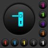 Left handed door handle with screws dark push buttons with color icons - Left handed door handle with screws dark push buttons with vivid color icons on dark grey background