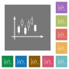 Candlestick graph with axes square flat icons - Candlestick graph with axes flat icons on simple color square backgrounds