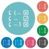 Debugging program flat round icons - Debugging program flat white icons on round color backgrounds