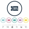 50 percent discount coupon flat color icons in round outlines - 50 percent discount coupon flat color icons in round outlines. 6 bonus icons included.