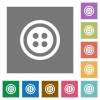 Dress button with 4 holes square flat icons - Dress button with 4 holes flat icons on simple color square backgrounds