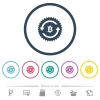 Bitcoin pay back guarantee sticker flat color icons in round outlines - Bitcoin pay back guarantee sticker flat color icons in round outlines. 6 bonus icons included.