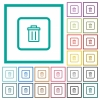 Delete object flat color icons with quadrant frames - Delete object flat color icons with quadrant frames on white background