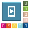 Mobile play media white icons on edged square buttons - Mobile play media white icons on edged square buttons in various trendy colors