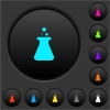 Laboratory dark push buttons with color icons - Laboratory dark push buttons with vivid color icons on dark grey background