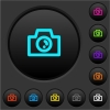 Camera dark push buttons with color icons - Camera dark push buttons with vivid color icons on dark grey background