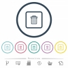 Delete object flat color icons in round outlines - Delete object flat color icons in round outlines. 6 bonus icons included.