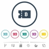 Bitcoin discount coupon flat color icons in round outlines - Bitcoin discount coupon flat color icons in round outlines. 6 bonus icons included.