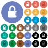 Locked combination lock with side numbers round flat multi colored icons - Locked combination lock with side numbers multi colored flat icons on round backgrounds. Included white, light and dark icon variations for hover and active status effects, and bonus shades.