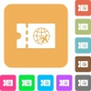 World travel discount coupon rounded square flat icons - World travel discount coupon flat icons on rounded square vivid color backgrounds.