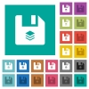 Multiple files square flat multi colored icons - Multiple files multi colored flat icons on plain square backgrounds. Included white and darker icon variations for hover or active effects.