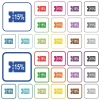 15 percent discount coupon outlined flat color icons - 15 percent discount coupon color flat icons in rounded square frames. Thin and thick versions included.