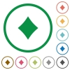 Diamond card symbol flat icons with outlines - Diamond card symbol flat color icons in round outlines on white background