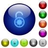 Unlocked round combination lock color glass buttons - Unlocked round combination lock icons on round color glass buttons