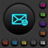 Mail warning dark push buttons with vivid color icons on dark grey background