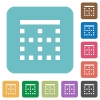 Top border white flat icons on color rounded square backgrounds - Top border rounded square flat icons