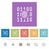 Digital fingerprint flat white icons in square backgrounds. 6 bonus icons included. - Digital fingerprint flat white icons in square backgrounds