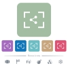 Camera share image flat icons on color rounded square backgrounds - Camera share image white flat icons on color rounded square backgrounds. 6 bonus icons included