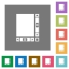 Blank document with scroll bars square flat icons - Blank document with scroll bars flat icons on simple color square backgrounds