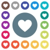 Heart card symbol flat white icons on round color backgrounds. 17 background color variations are included.
