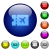 Air travel discount coupon icons on round color glass buttons