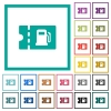 Fueling discount coupon flat color icons with quadrant frames - Fueling discount coupon flat color icons with quadrant frames on white background