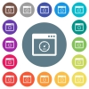 Application speed flat white icons on round color backgrounds. 17 background color variations are included.