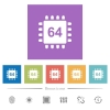 Microprocessor 64 bit architecture flat white icons in square backgrounds - Microprocessor 64 bit architecture flat white icons in square backgrounds. 6 bonus icons included.