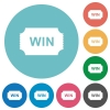 Winner ticket flat round icons - Winner ticket flat white icons on round color backgrounds