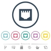 Ethernet connector flat color icons in round outlines. 6 bonus icons included. - Ethernet connector flat color icons in round outlines