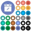 Edit schedule item round flat multi colored icons - Edit schedule item multi colored flat icons on round backgrounds. Included white, light and dark icon variations for hover and active status effects, and bonus shades.