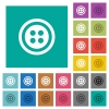 Dress button with 4 holes square flat multi colored icons - Dress button with 4 holes multi colored flat icons on plain square backgrounds. Included white and darker icon variations for hover or active effects.