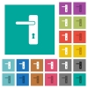Left handed simple door handle square flat multi colored icons - Left handed simple door handle multi colored flat icons on plain square backgrounds. Included white and darker icon variations for hover or active effects.