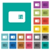 Chip card square flat multi colored icons - Chip card multi colored flat icons on plain square backgrounds. Included white and darker icon variations for hover or active effects.