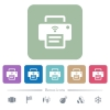 Wireless printer white flat icons on color rounded square backgrounds. 6 bonus icons included - Wireless printer flat icons on color rounded square backgrounds