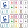 Unlocked round combination lock outlined flat color icons - Unlocked round combination lock color flat icons in rounded square frames. Thin and thick versions included.