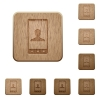 Video call wooden buttons - Video call on rounded square carved wooden button styles