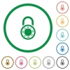 Locked round combination lock flat icons with outlines - Locked round combination lock flat color icons in round outlines on white background
